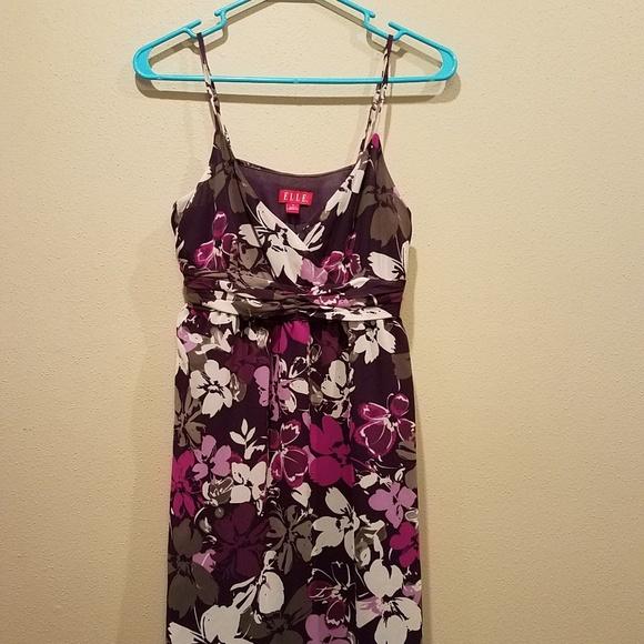 Elle Dresses & Skirts - Elle purple floral dress size 8